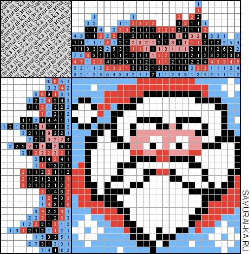Цветной японский кроссворд - Санта Клаус