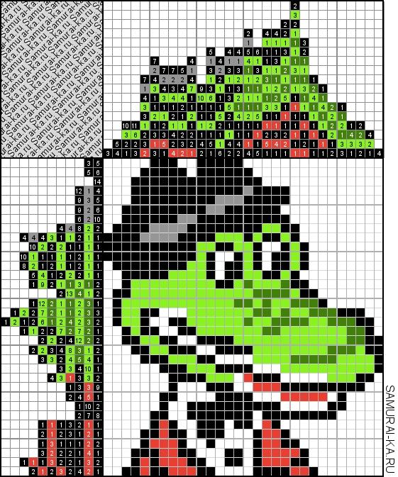 Цветной японский кроссворд - Крокодил Гена