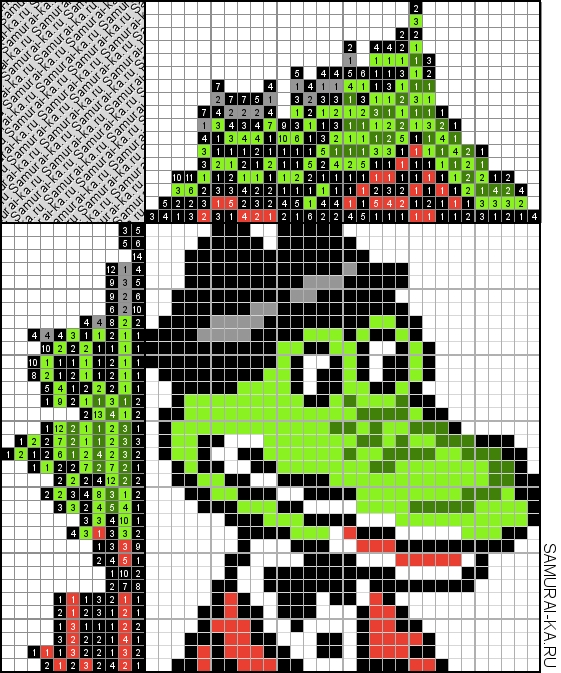 Японский кроссворд - Крокодил Гена решай онлайн без регистранции и бесплатно.