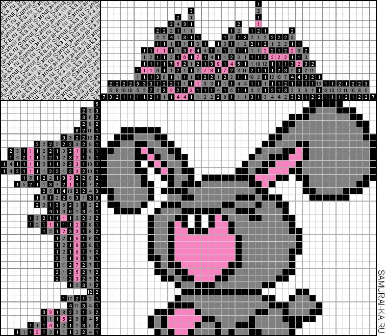 Японский кроссворд - Кролик зевнул) решай онлайн без регистранции и бесплатно.