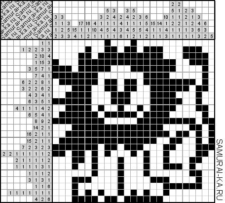 Японский кроссворд - Веселый лев решай онлайн без регистранции и бесплатно.