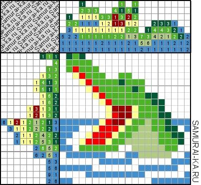 Японский кроссворд - Крокодил решай онлайн без регистранции и бесплатно.