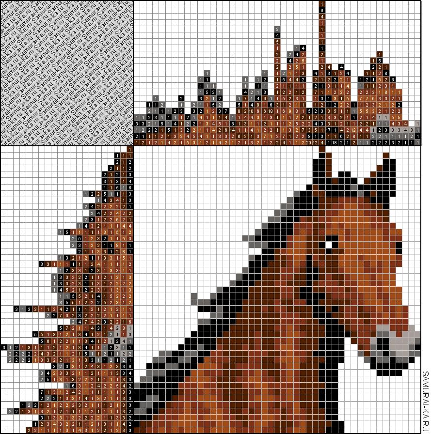 Японский кроссворд - Гнедая лошадь решай онлайн без регистранции и бесплатно.