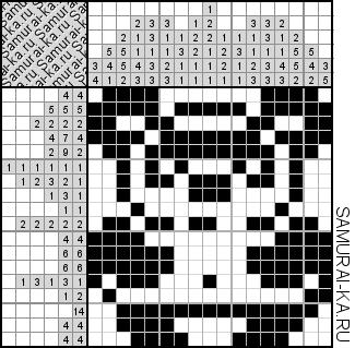 Японский кроссворд - Медведь Пух решай онлайн без регистранции и бесплатно.