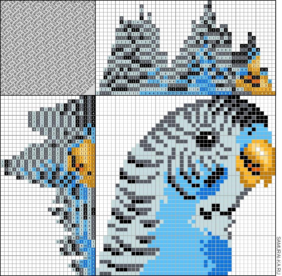 Синий волнистый попугай
