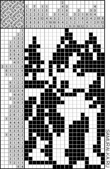 Японский кроссворд - Щенок хаски решай онлайн без регистранции и бесплатно.