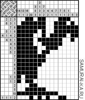 Японский кроссворд - Гриф решай онлайн без регистранции и бесплатно.