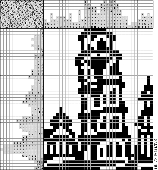 Японский кроссворд - Пизанская башня решай онлайн без регистранции и бесплатно.