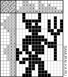 Японский кроссворд - Чертенок решай онлайн без регистранции и бесплатно.