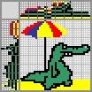 Японский кроссворд Крокодил на пляже