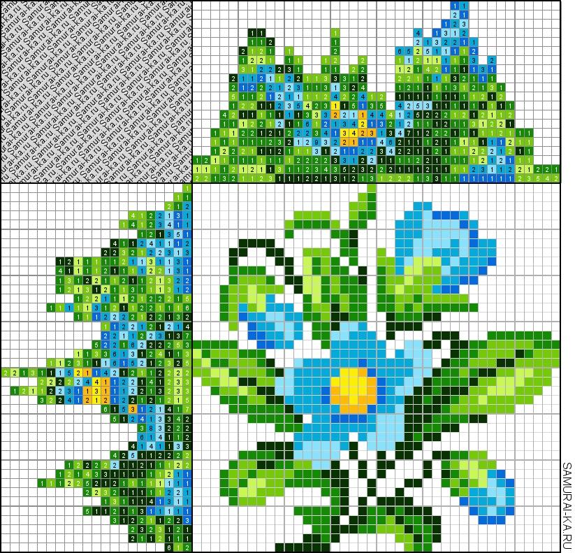 Японский кроссворд - Голубой цветочек решай онлайн без регистранции и бесплатно.