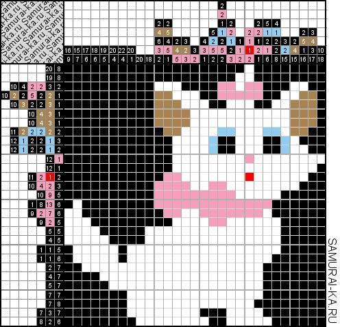 Японский кроссворд - Белая кошечка решай онлайн без регистранции и бесплатно.