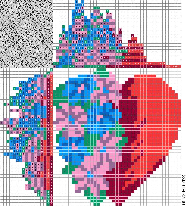 Японский кроссворд - Цветочное сердце решай онлайн без регистранции и бесплатно.