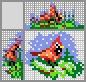 Японский кроссворд Птичка Красный кардинал