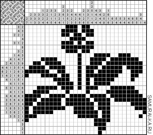 Японский кроссворд - Пышный цветок решай онлайн без регистранции и бесплатно.