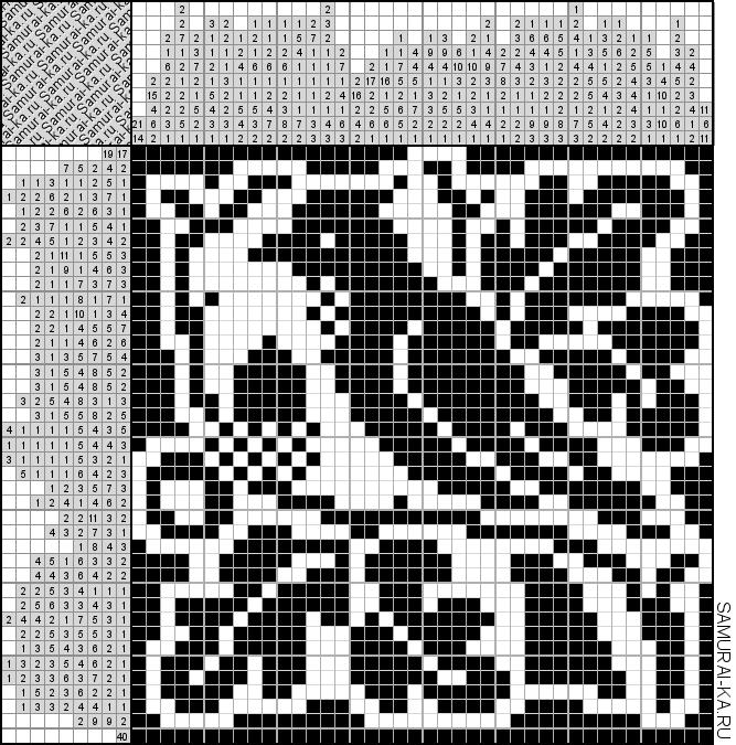 Японский кроссворд - Птица на ветке решай онлайн без регистранции и бесплатно.