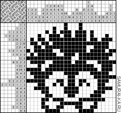 Японский кроссворд - Сонный ёжик решай онлайн без регистранции и бесплатно.