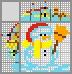 Японский кроссворд Снеговик с шапке санты