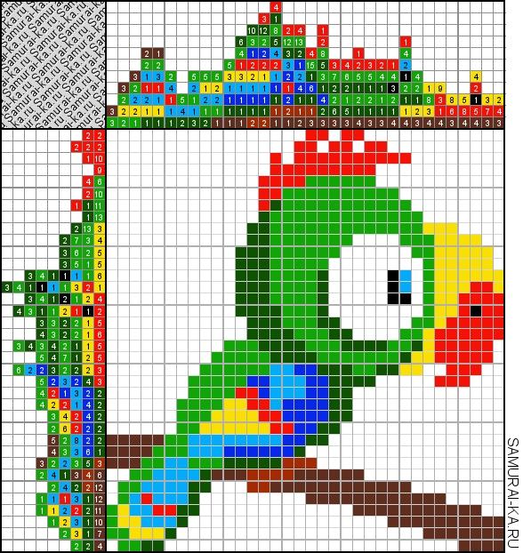 Японский кроссворд - Попугай решай онлайн без регистранции и бесплатно.