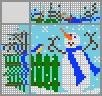 Японский кроссворд Снеговик во дворе