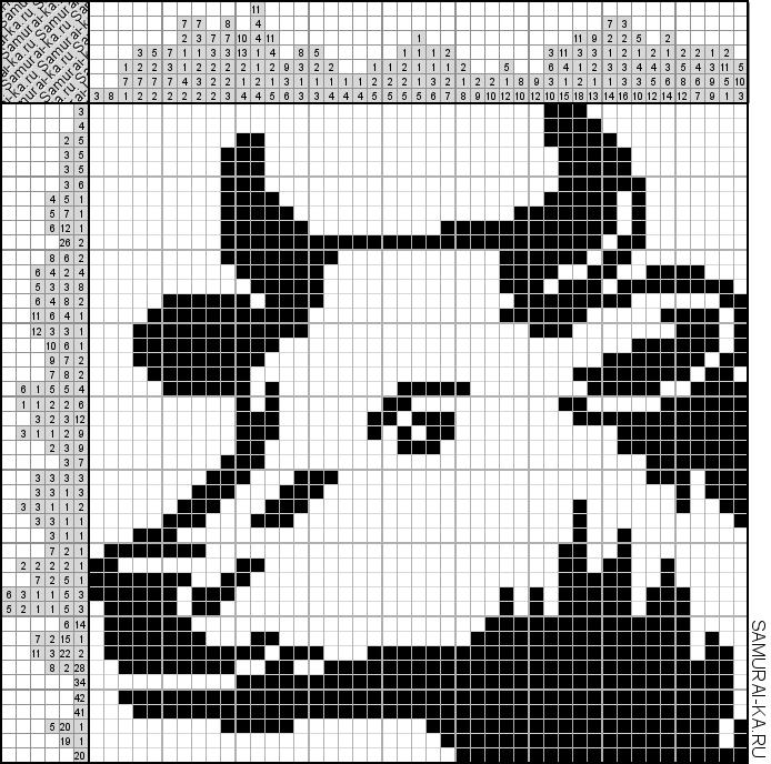 Японский кроссворд - Портрет коровы решай онлайн без регистранции и бесплатно.