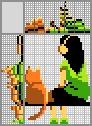 Японский кроссворд Девочка и кот