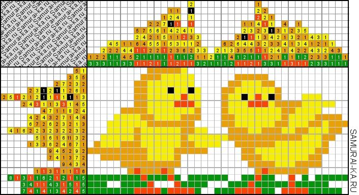 Японский кроссворд - Цыплята решай онлайн без регистранции и бесплатно.