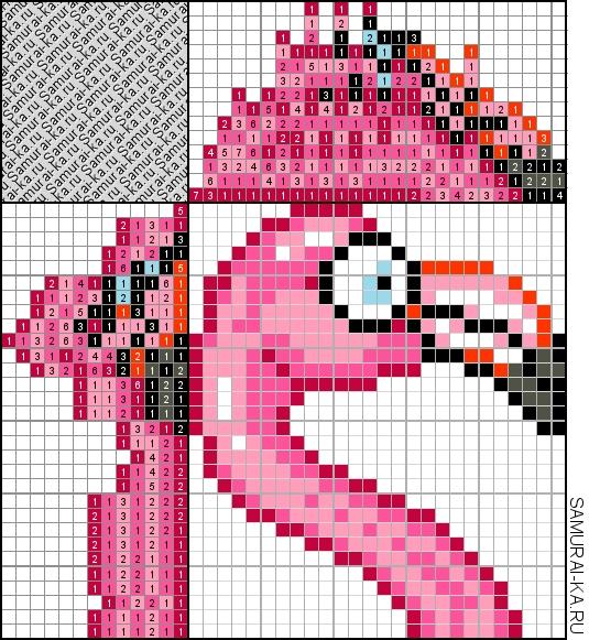 Японский кроссворд - Фламинго решай онлайн без регистранции и бесплатно.