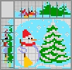 Японский кроссворд Снеговик и ёлка