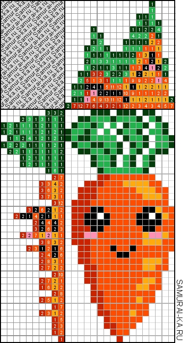 Японский кроссворд - Морковка решай онлайн без регистранции и бесплатно.