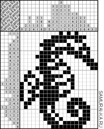 Японский кроссворд - Морской конёк решай онлайн без регистранции и бесплатно.