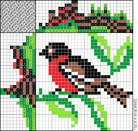 Японский кроссворд - Птица решай онлайн без регистранции и бесплатно.