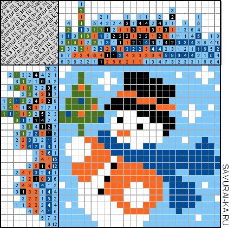 Японский кроссворд - Снеговик с ёлочкой решай онлайн без регистранции и бесплатно.
